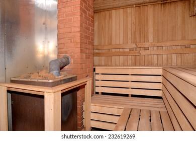 Sauna interior with the furnace