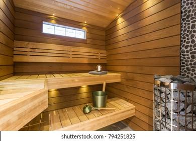 Sauna interior - Relax in a hot sauna
