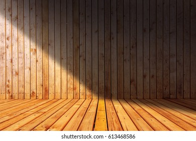Sauna like empty wooden room interior as background
