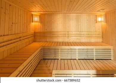 Sauna room interior as background