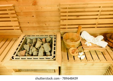 Sauna room with traditional sauna accessories.Healthy and spa life style.