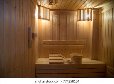 Sauna Room With Warm Light Inside