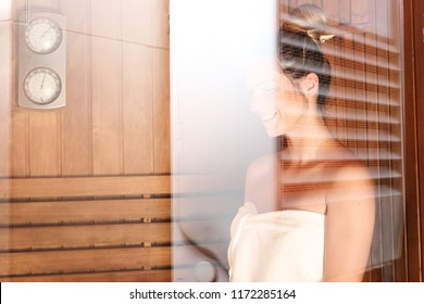 Sauna session for health and beauty.  Woman in the sauna.