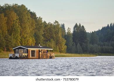 Sauna and spa cruise, Jyvaskyla area. Finland traditional lifestyle. Horizontal