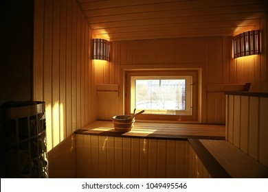 sauna, wooden interior baths, wooden benches and loungers accessories for sauna, spa complex in the hotel