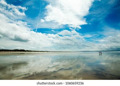 Saunton Sands, Braunton, Devon. Reflections of the sky in the water.