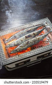 Saury grilled, grilled fish