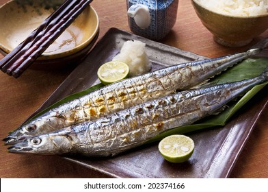 Saury Grilled With Salt