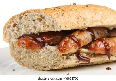 Sausage baguette with brown or barbecue sauce
