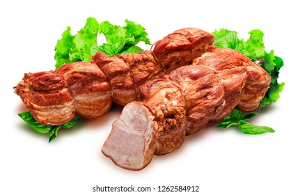 Sausage, baked ham, ham, sausages. Food. Meat products. Salad leaves. Image on a white background.