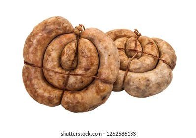 Sausage, baked ham, ham, sausages. Food. Meat products. Image on a white background. Isolated image.