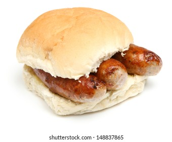Sausage bap or bread roll