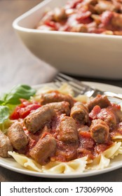 Sausage and bowtie pasta in a chunky tomato sauce