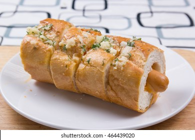 sausage bread on plate / cooking sausage  bread concept