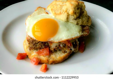 Sausage and egg breakfast biscuit