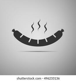 Sausage flat icon on grey background.