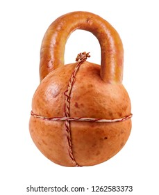 Sausage in the form of sports weights. Dumbbbells. Sport. Health. Nutrition. Image on a white background. Isolated image.