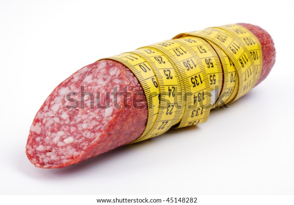 Sausage with a measuring tape, studio isolated