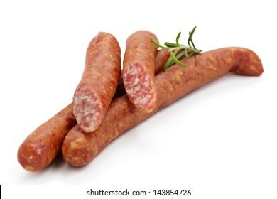 sausage, Mettwurst on a white backround