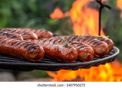 Sausage on grill with spices and herbs in summer