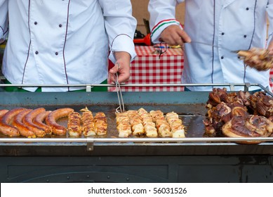 sausage on a large barbecue outdoor