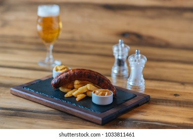 Sausage on the wooden table