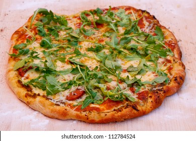 Sausage Pizza with Arugala