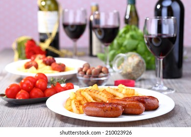 Sausage and potato with food background
