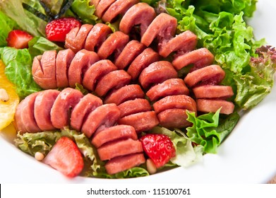 sausage with salad