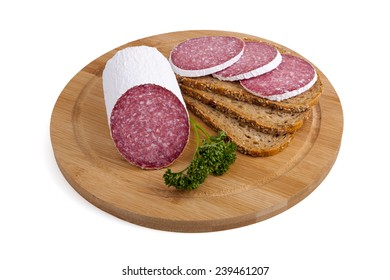 sausage - salami, bread, parsley - isolated on white background