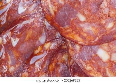 Sausage slices for background.