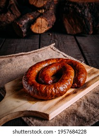 Sausage in wood rustic table