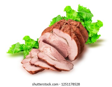 Sausage,bacon, ham. Food. Meat products. Sausage with lettuce. Image on a white background.