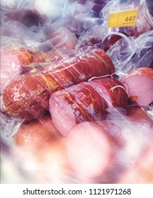 sausages in the refrigerated case