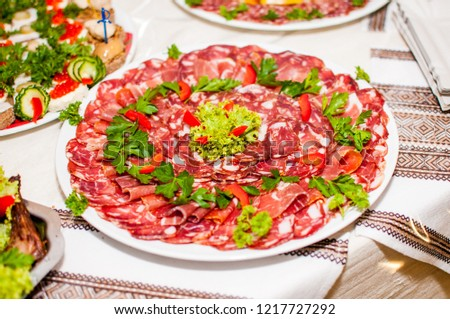 Sausages Salad Decoration On Wooden Table Stock Photo Edit Now