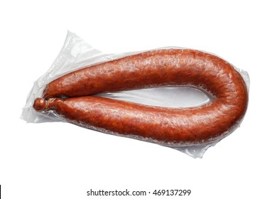 the sausages in vacuum pack isolated on white background