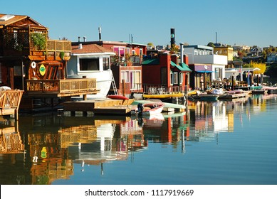 Sausalito, CA, USA March 10, 2009 The houseboats of Sausalito, California have been a landmark in the northern California town for decades