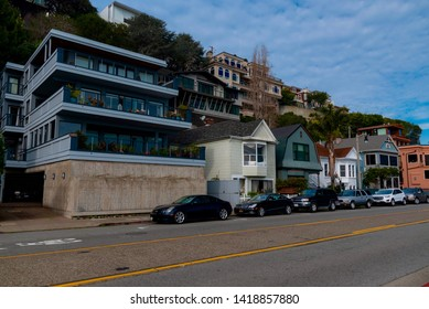 Sausalito, California - February 04 2019: panorama of the city and of the northern California huts in the city of Sausalito in Napa Valley