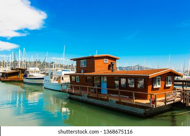 Sausalito, California/USA - September 25, 2018: Houseboat - lifestyle home in Sausalito Marina in San Francisco Bay