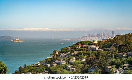 Sausalito hillside with financial district of San Francisco on the background and alcatraz island on the left. San Francisco bay, California, USA.