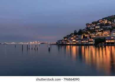 Sausalito and San Francisco Evening Skyline, California, United States