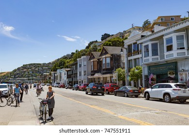 Sausalito, USA - July 15, 2017 - View of the stores along the Bridgeway street in the city of Sausalito, USA