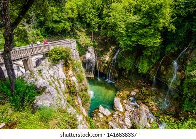 "Saut du Loup, France - June 20, 2018. Waterfall ""Cascade du Saut du Loup"" in France, near to Courmes and Gourdon"