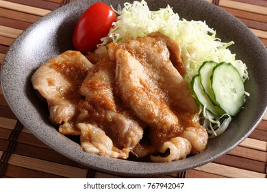 Sauteed pork with ginger sauce(ginger fried pork), Japanese food
