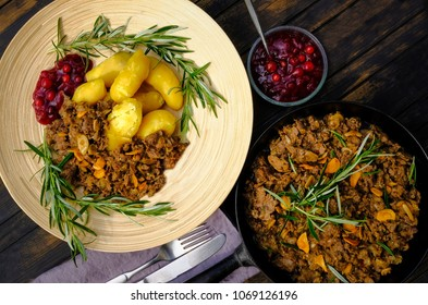 Sauteed reindeer, lingonberry jam and almond potatoes which is a Finnish speciality called also yellow Finn and Puikula.  This is Lapland traditional food in Scandinavia especially Finland and Sweden