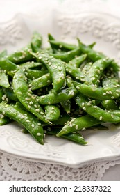 Sauteed sugar snap peas with sesame