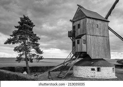 Sautton windmill (moulin sautton) in Ymonville, Eure et Loire, France