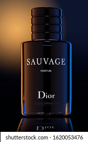 SAUVAGE Parfum by Dior. Aftershave Perfume Fragrance for Men by French Fashion House Christian Dior. Plymouth Devon UK January 19th 2020. Dark Field Lighting Technique. Clipping  Path included in JPEG