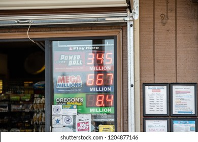 Sauvie Island, OR / USA - October 17 2018: Store sign with powerball, mega millions, and megabucks lottery jackpots. One of the largest prizes in history.