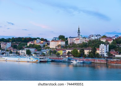 The Sava River waterfront with St Michael's Cathedral, Belgrade, Serbia